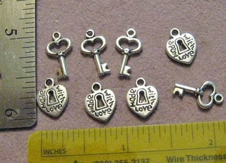 4 Pieces ~ Pewter Silvertone Made with Love ~ locks and keys ~ GIN