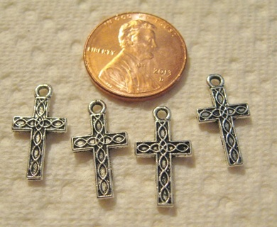 4 Silver Color Tiny Pewter Crosses ~ Great for earrings or Charm bracelets
