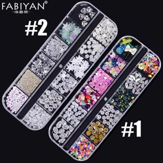 12 Cell Nail Art Decoration Sequins Rhinestone Glitter Crystal Gems Caviar Bow Snowflake Acrylic G
