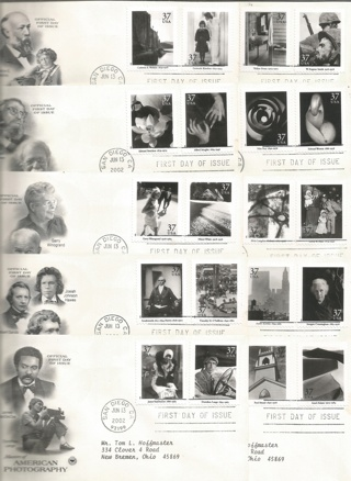10 FDC's #3649 – 2002 37c Masters of American Photography, s/a