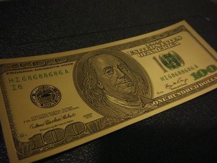 Gold 100 dollar bill