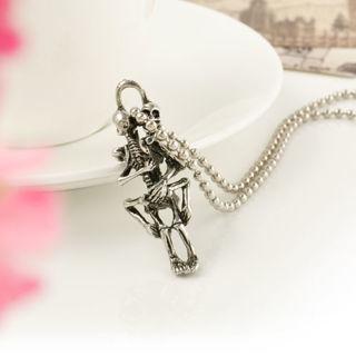 Men Infinity Tibetan Silver Black Stainless Steel Skull Pendant Chain Necklace