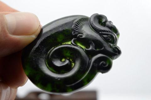 100% China's natural jade nephrite carving black jade pendant Dragon