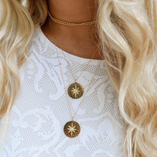 Bohemian Stars Beads Round Crystal Chain Pendant Gold Necklace Wopmen Fashion Long Necklace