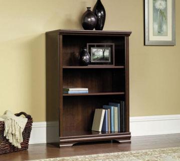 Sauder Furniture Carolina Estate 3-Shelf Adjustable Bookcase, Cherry NEW