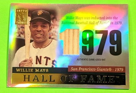 WILLIE MAYS HALL OF FAME TRIBUTE GAME USED BAT CARD