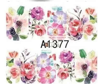 1 Sheet Flowers Full Nails Water Transfer Nail Decals