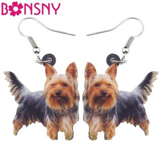 Bonsny Statement Lovely Wink Puppy Earrings Big Long Drop Dangle Animal Novelty Acrylic Jewelry For