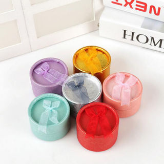 [GIN FOR FREE SHIPPING] 5Pcs Jewelry Gift Box Ring Earring Round Case Bowknot Display