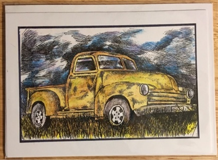 """YELLOW TRUCK IN FIELD - 5 x 7"""" art card by artist Nina Struthers - GIN ONLY"""
