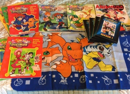 Digimon coloring books pillow case and DVD lot