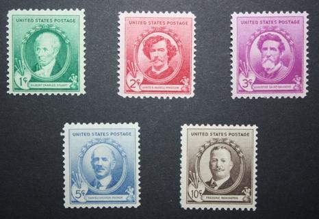 1940 U.S. Stamps - SC884, 885, 886, 887, 888 - American Artists Commemorative - Mint, Unused, NH, OG