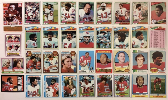 New England Patriots 1960s 70s 80s Topps Football Cards Lot of 36 - Haynes Hannah Grogan