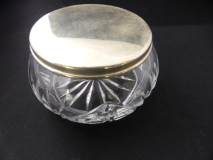 Vintage GORHAM E P YC 1846 Silver Plate Heavy Duty Crystal Powder Jar