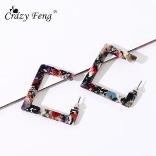 Crazy Feng 2018 Trend Acrylic Resin Earrings Women Fashion Drop Earrings square dangle earrings je