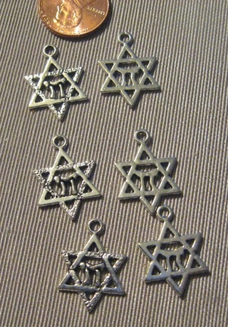 6 Pewter Silvertone Star of David Charms with Chai