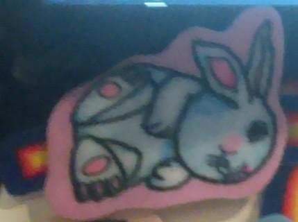 2 Cute Felt Decoration Patches rabbit