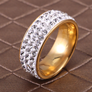 8mm Band Ring Full Filled Crystal Sapphire Inlaid Stainless Steel Women Size6-13