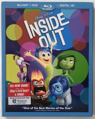 Disney Pixar Inside Out 3-Disc Blu-ray / DVD Combo Movie With Slipcover and Mint Discs