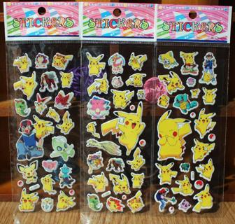 3pcs/lot Pokemon Pikachu Cartoon Puffy Stickers Kids Toy 3D Anime Stickers for Children Bubble Sti