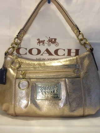 Nwot Coach Poppy Leather Groovy Purse Metallic Gold 20383e Gin Bonus Cleaner