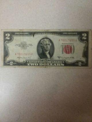 1953 B 2 dollar red seal