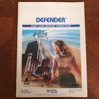 Defender video game instruction manual for Atari 2600