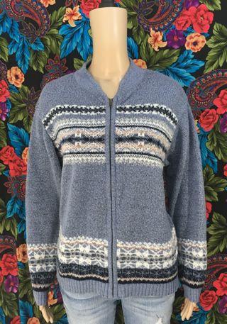 WOMEN'S cute knit sweater top zip up acrylic knit soft Erika SIZE XL
