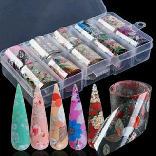 Flower Transfer Manicure Decor Nail Foil Nail Art Stickers Holographic Decals
