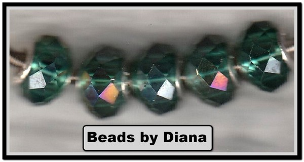 5pc Euro .925 Teal AB Faceted Beads (PLEASE READ DESCRIPTION)