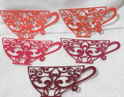 Shades of Red Cardstock Tea Cup Die Cuts for Paper Crafts 15
