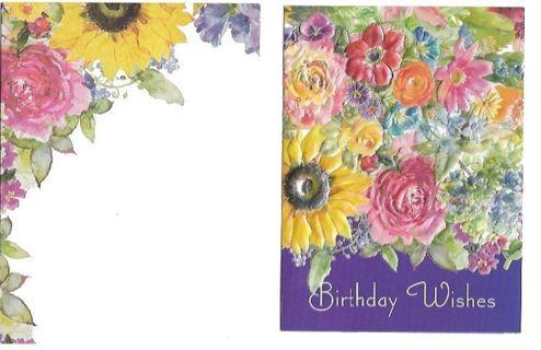 Birthday Card Unused With Envelope FLORAL
