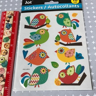 Rainbow Patterned Birds vinyl like sticker sheet NEW