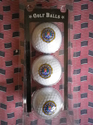 SET OF 3 LOGO GOLF BALL-DEPARTMENT OF JUSTICE FEDERAL BUREAU OF INVESTIGATION...NEW!!!!