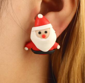 2 Pairs Women Earring 3D Red Snowman