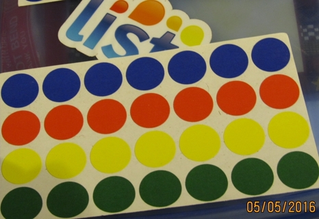 3/4 INCH COLORFUL GARAGE SALE DOTS...2 SHEETS OF 28 DOTS EACH
