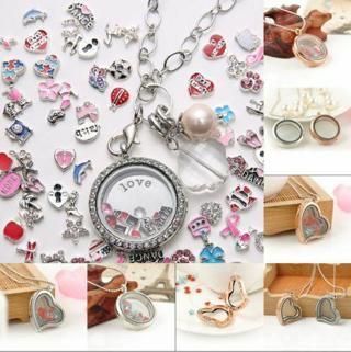 NEW Living Memory Floating Alloy Round /Heart Rhinestone Locket Pendant Necklace