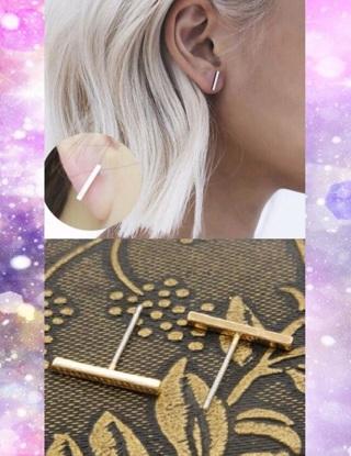 NEW Gold Geometric Bar T Stud Earrings Minimal Simple Line Stick FREE SHIPPING