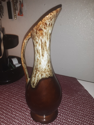 "Dalton USA Brown Drip Pitcher Vintage Bud Vase Glaze 8 1/2"" tall"