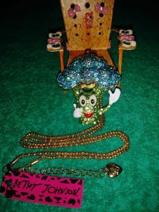 ❤✨❤✨❤️BRAND NEW BETSEY JOHNSON® KAWAII RHINESTONE BLUE & GREEN HAPPY BROCCOLI NECKLACE❤✨❤✨❤