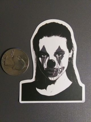 1 New Crying Clown Face Decal Sticker