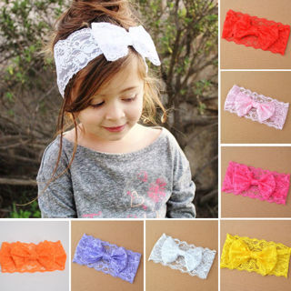 Trendy Cute 1pc Lace Hair Bows Girls Baby Kids Headband Hair Accessories Gift