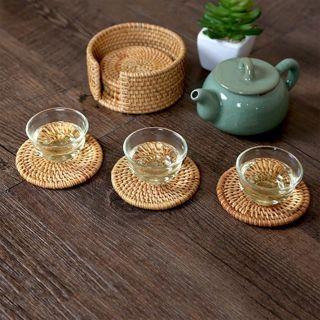 3Pcs Drink Coasters Set Round Tableware Placemat Dish Mat Rattan Tea Cup