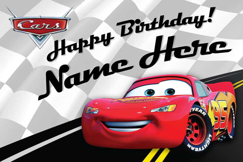 Free Custom Disney Birthday Card Lightning McQueen Cars – Disney Cars Birthday Cards