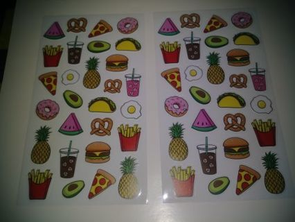⚛✨⚛✨⚛2 BRAND NEW SHEETS OF ICONS KAWAII FOOD STICKERS⚛✨⚛✨⚛