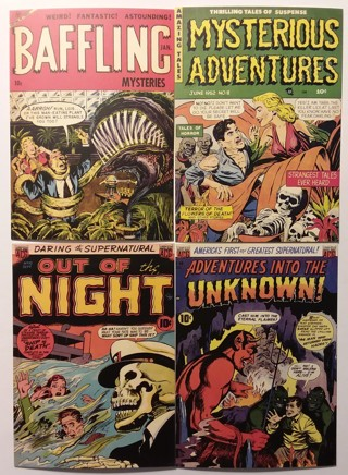 Lot of 4 Different Classic Comic Book Covers POSTCARDS Horror Mystery Suspense