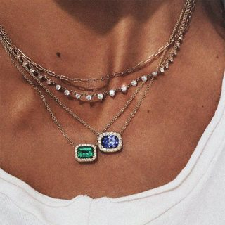 Trendy Choker Women Fashion Crystal Geometry Pendant Double Silver Necklace Charm Beach Necklace