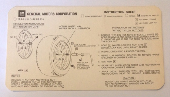 Vintage GM Wheel Installation Instruction Card