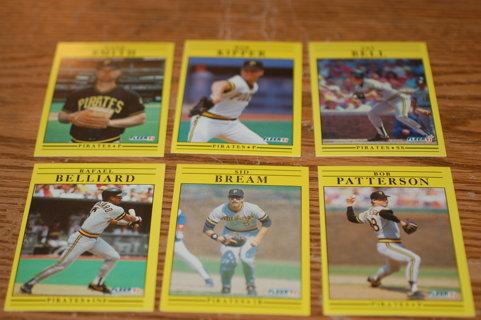 Set of 6 1991 Fleer Pittsburg Pirates Baseball Cards