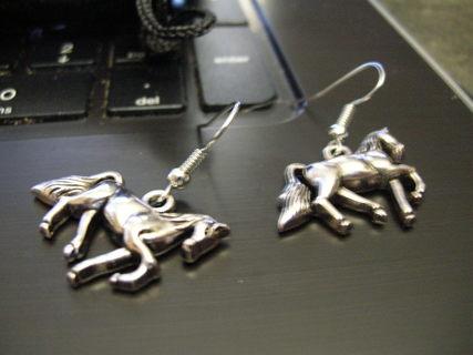 Sterling Silver Horse Hook Earrings